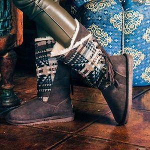BearPaw Kathy Aztec Tribal Fringe Boots